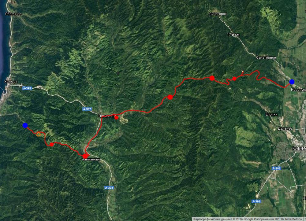 Схема маршрута на спутниковом снимке