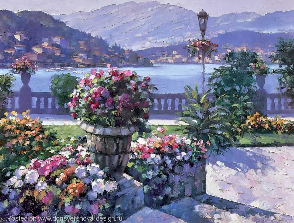 цветы и море, живопись, натюрморт, блог Дорис Ершовой, живопись для настроения