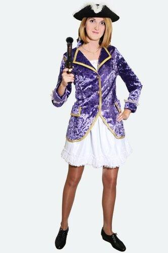 Женский карнавальный костюм Пиратка в фиолетовом