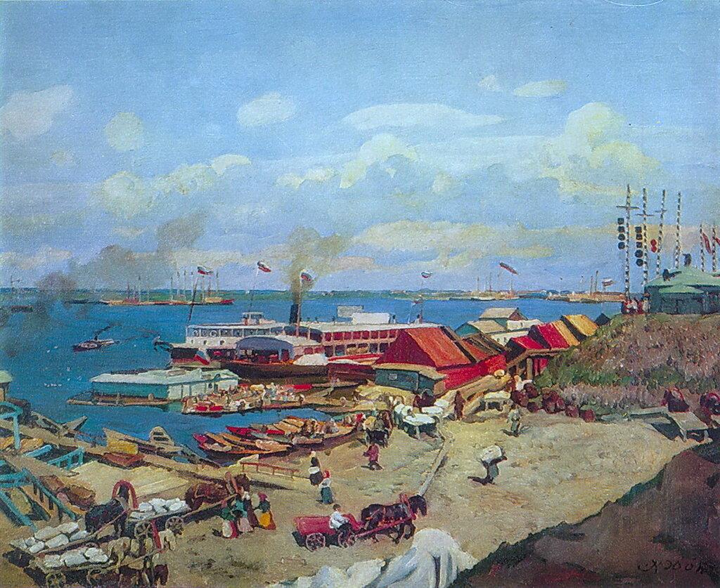 1911 Волжские пристани. Х., м. 71х89,5. Муз.-кв. Бродского.jpg