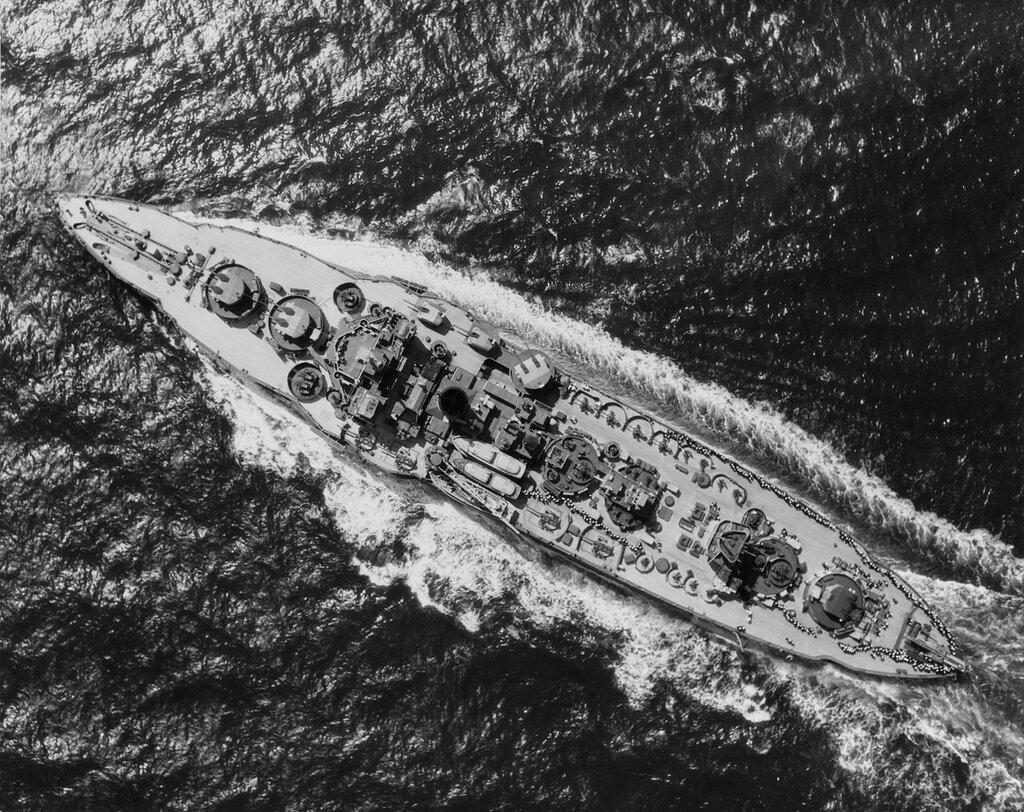 USS WYOMING (AG-17). Underway in the Atlantic, 30 April 1945.