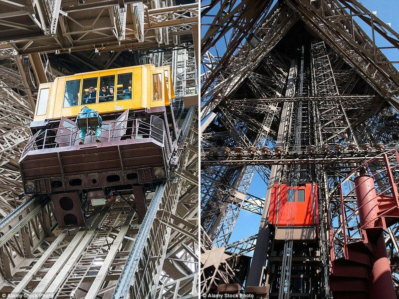 Лифт в Эйфелевой башне в Париже, Франция.