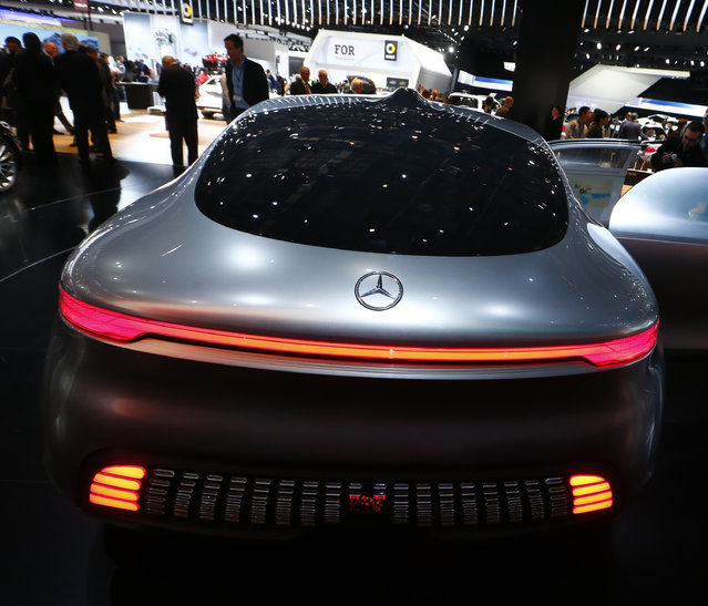 Rear view of the Mercedes Benz F015 Luxury in Motion concept on display during the second press day