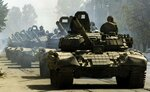 Колонна российских Т-72Б в Цхинвале