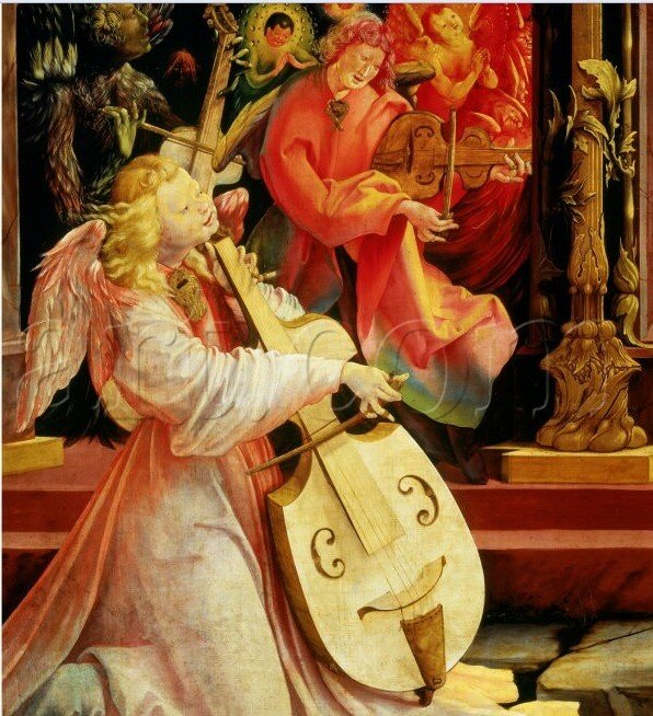 Маттиас грюневальд картина играющий ангел. изенхеймский алтарь.jpg