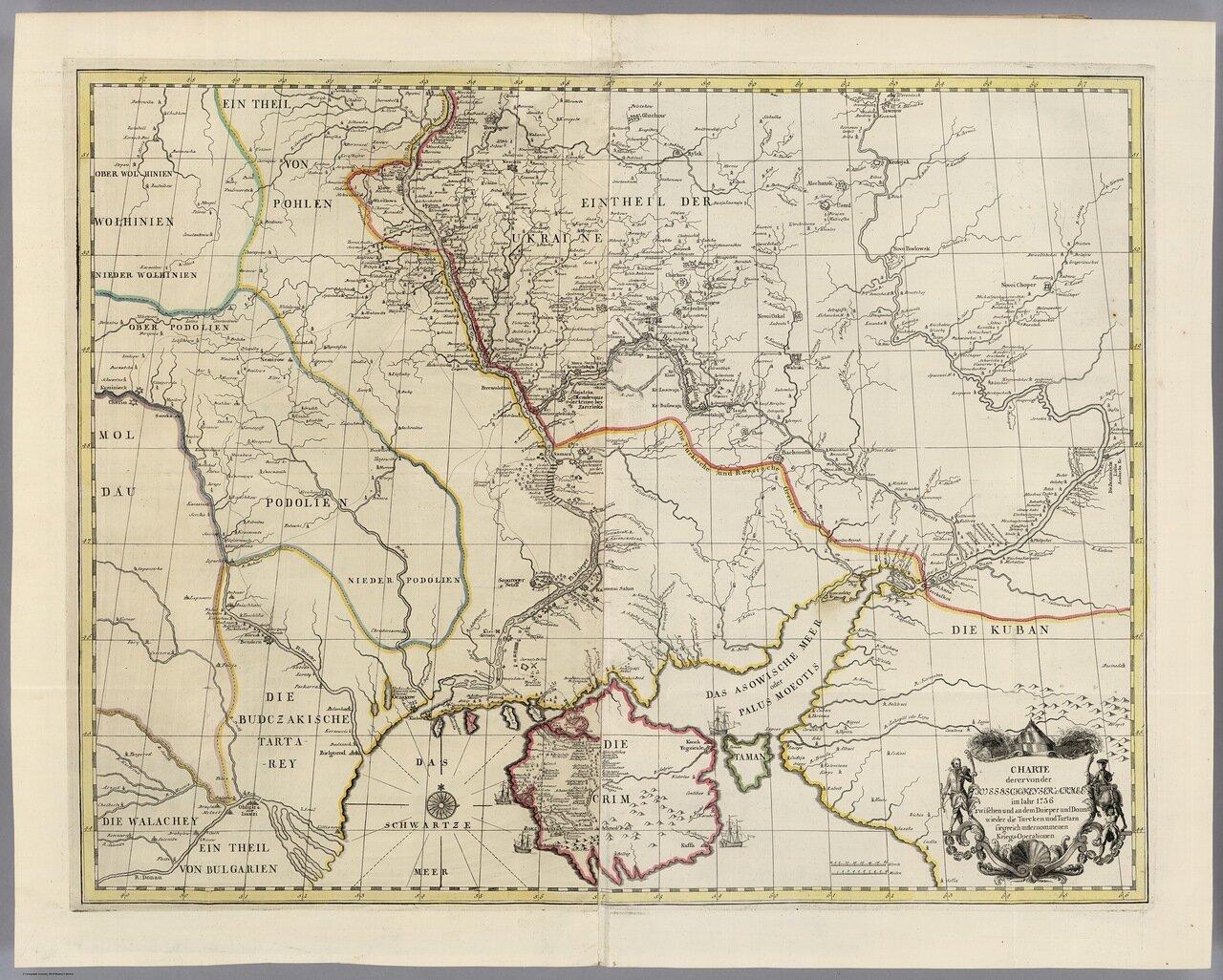 1736. Карта земель, где победоносная российская армия проводила военные операции против турок и татар