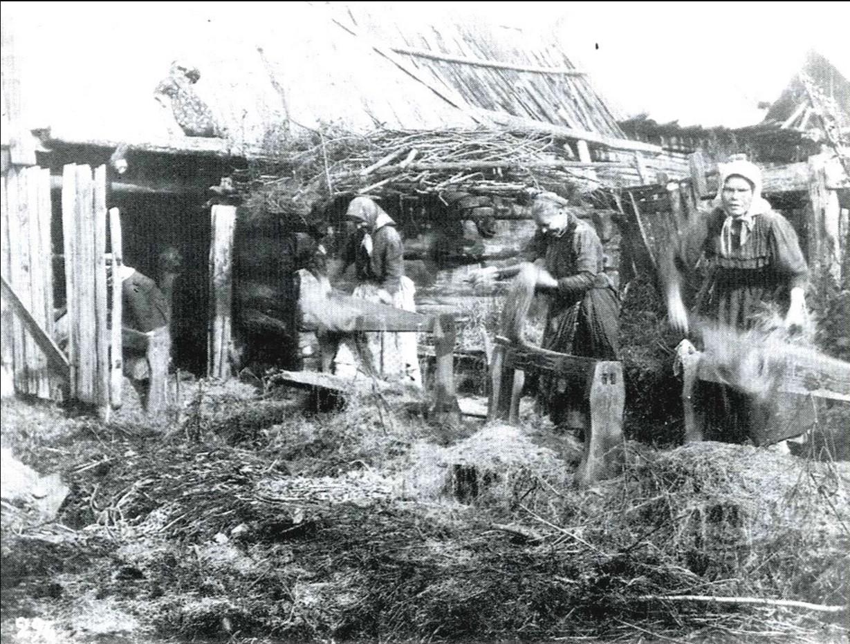 04. Обработка льна на мялках. Уфимская губерния. 1911