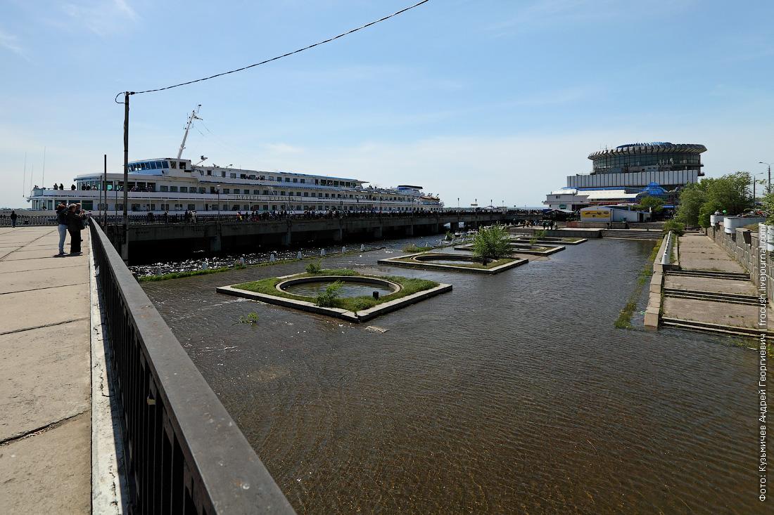 Волгоград Набережная речного вокзала под водой