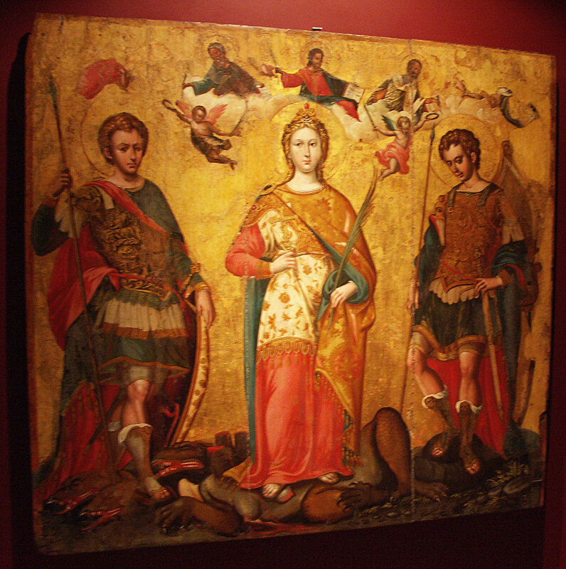 Saints Serge et Bacchus, Ste Justine (de Padoue), peints par Michael Damaskinos pour commémorer la victoire contre les Turcs à la bataille navale de Naupacte (Lépante) le 7 octobre 1571, la fête des saints étant le 7 octobre. Tempora à l'oeuf sur bois. Le