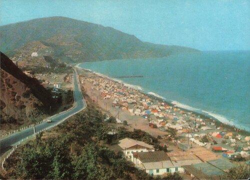 Крым. Алушта. 1971.Пляж в с. Рыбачьем.