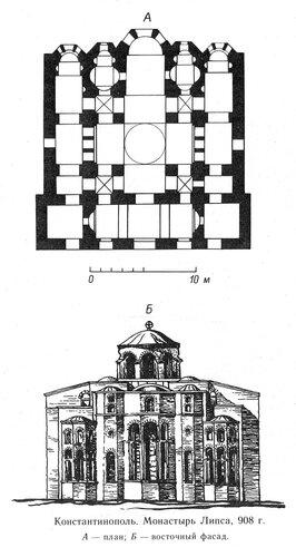 План и фасад храма монастыря Липса в Константиполе