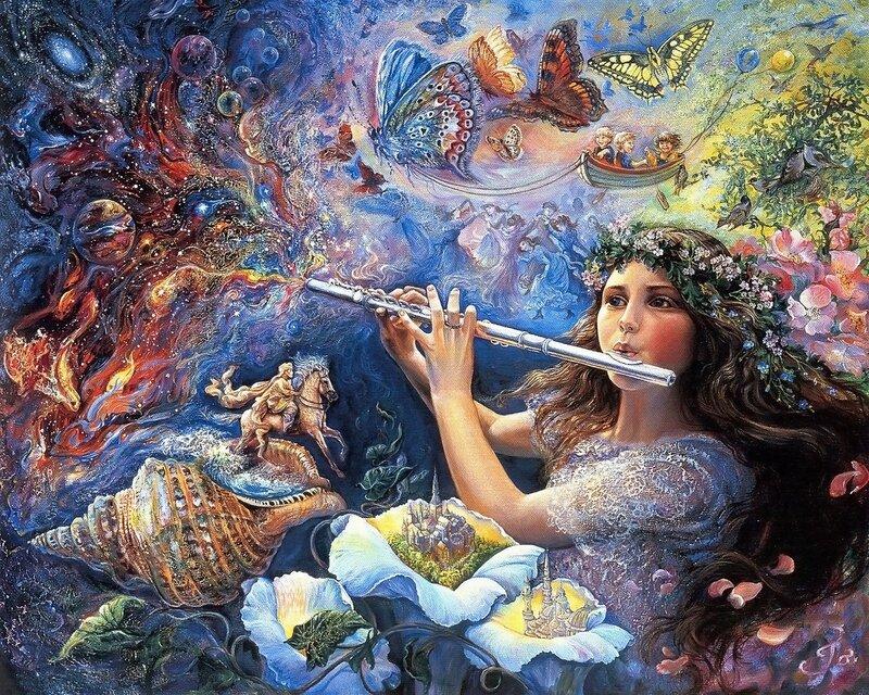 Josephine Wall. Девочка играет на волшебной флейте.jpg