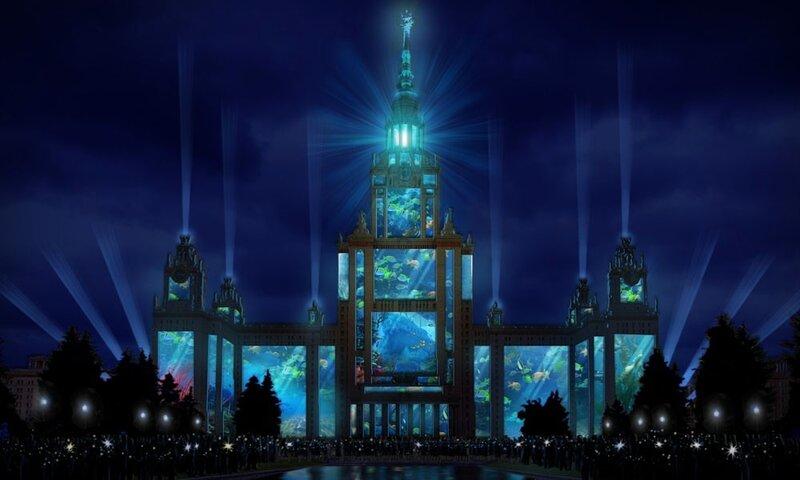 Лазерное шоу на Воробьевых горах