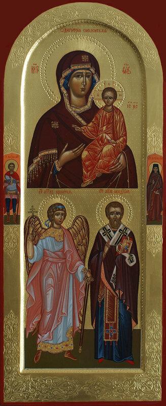 двучастная икона: Смоленская икона Пресвятой Богородицы, Ангел Хранитель, святой апостол от 70-ти Родион