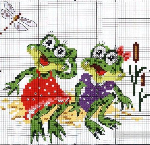 Скачать схемы для вышивки лягушка