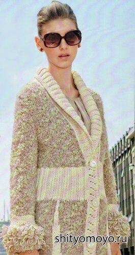 Длинное пальто, связанное спицами. Бесплатное описание и выкройка