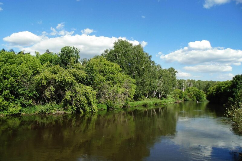 Река Миасс. Вид с моста  в Казанцево.