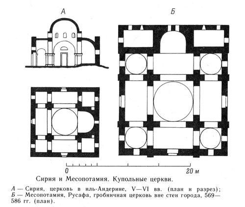 Чертежи купольных церквей в иль-Андерине и Русафе, Сирия и Месопатамия