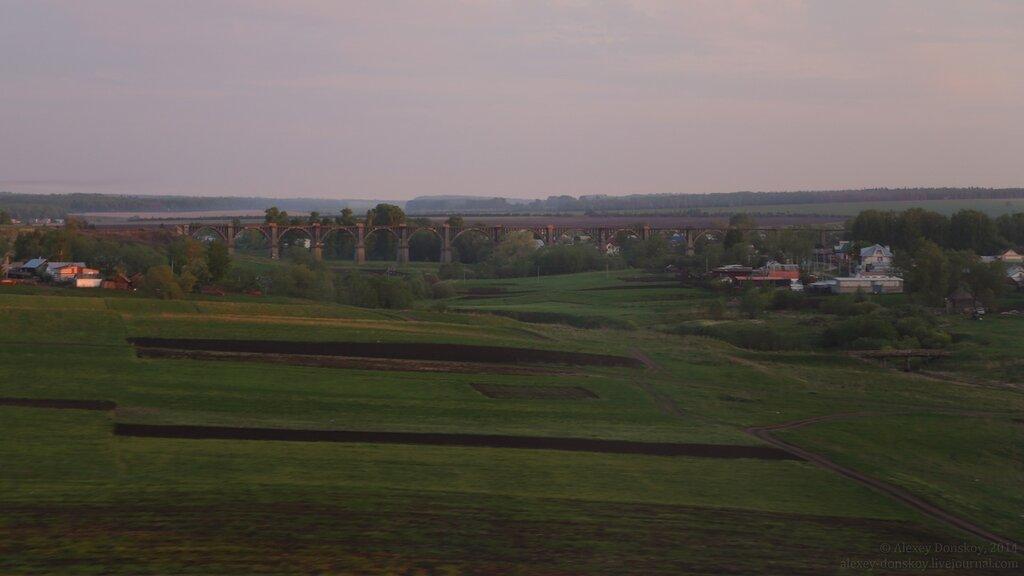 Вид на старый Мокринский мост с нового (из поезда)
