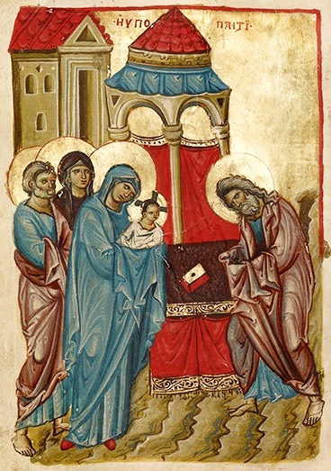 The Presentation in the Temple (detail), Gospel book, Byzantium (Nicaea or Nicomedia), late 1200s. The J. Paul Getty Museum.jpg