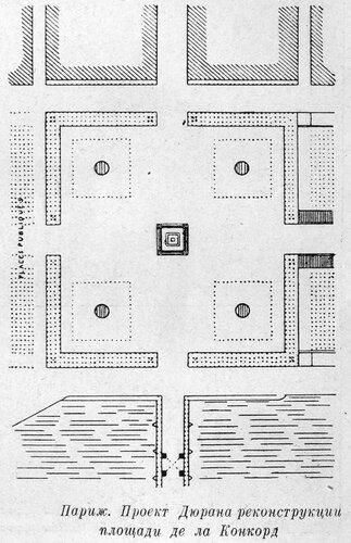 Проект Дюрана реконструкции площади де ла Конкорд в Париже, план