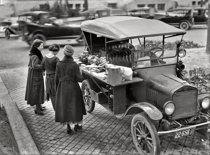 Washington, D.C., in 1919. Street lunch vendor. A Model T sandwich-vending machine