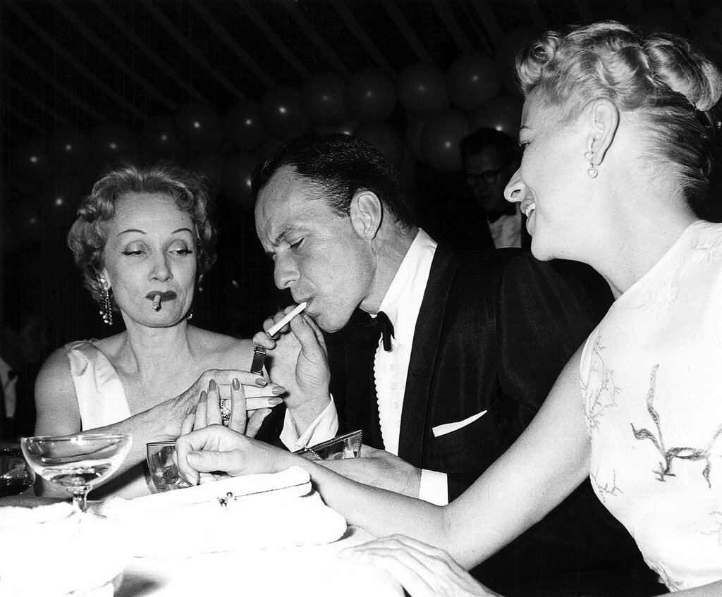 Marlene Dietrich, Frank Sinatra, Betty Furness, 1955