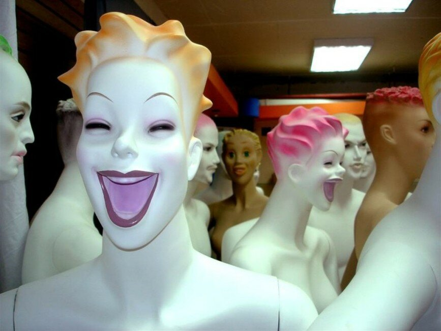 Mannequins laughing