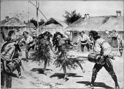 Ритуал Додола в румынской деревне. Рисунок 1905 года