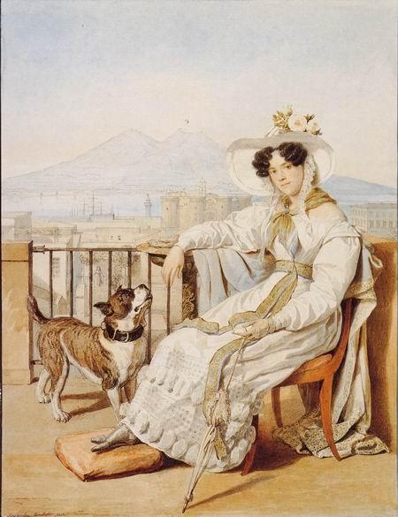 Брюлов портрет Голицыной с собакой
