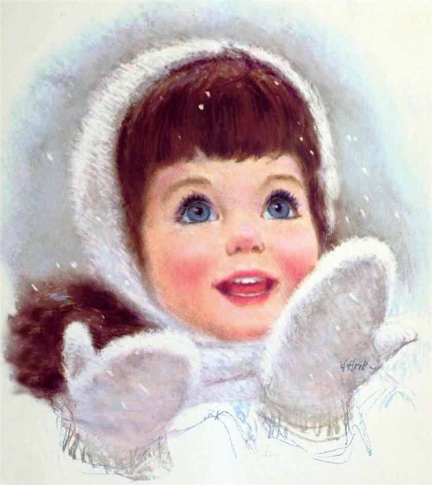 Розами, открытки дети зимой
