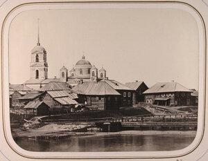 Вид Шлиссельбургской плотины;на втором плане-церковь и жилые дома у Озерского погоста.