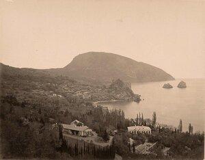Вид на город; справа - скалы Адалары, на втором плане - гора Аю-Даг.