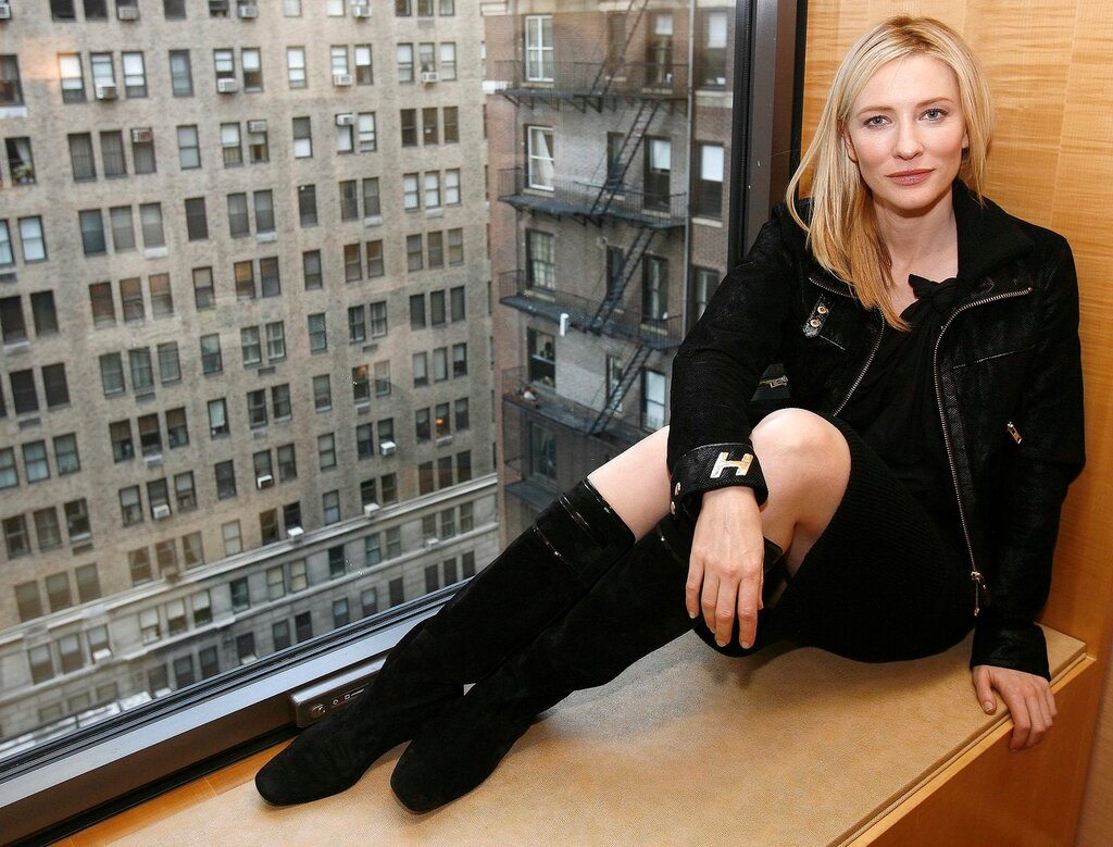 Actress Cate Blanchett poses in her hotel room in  New York