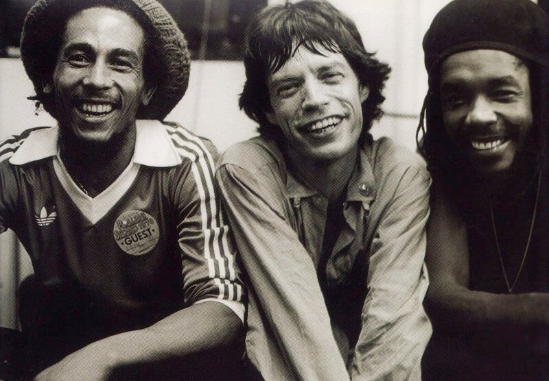 Bob Marley, Mick Jagger and Peter Tosh