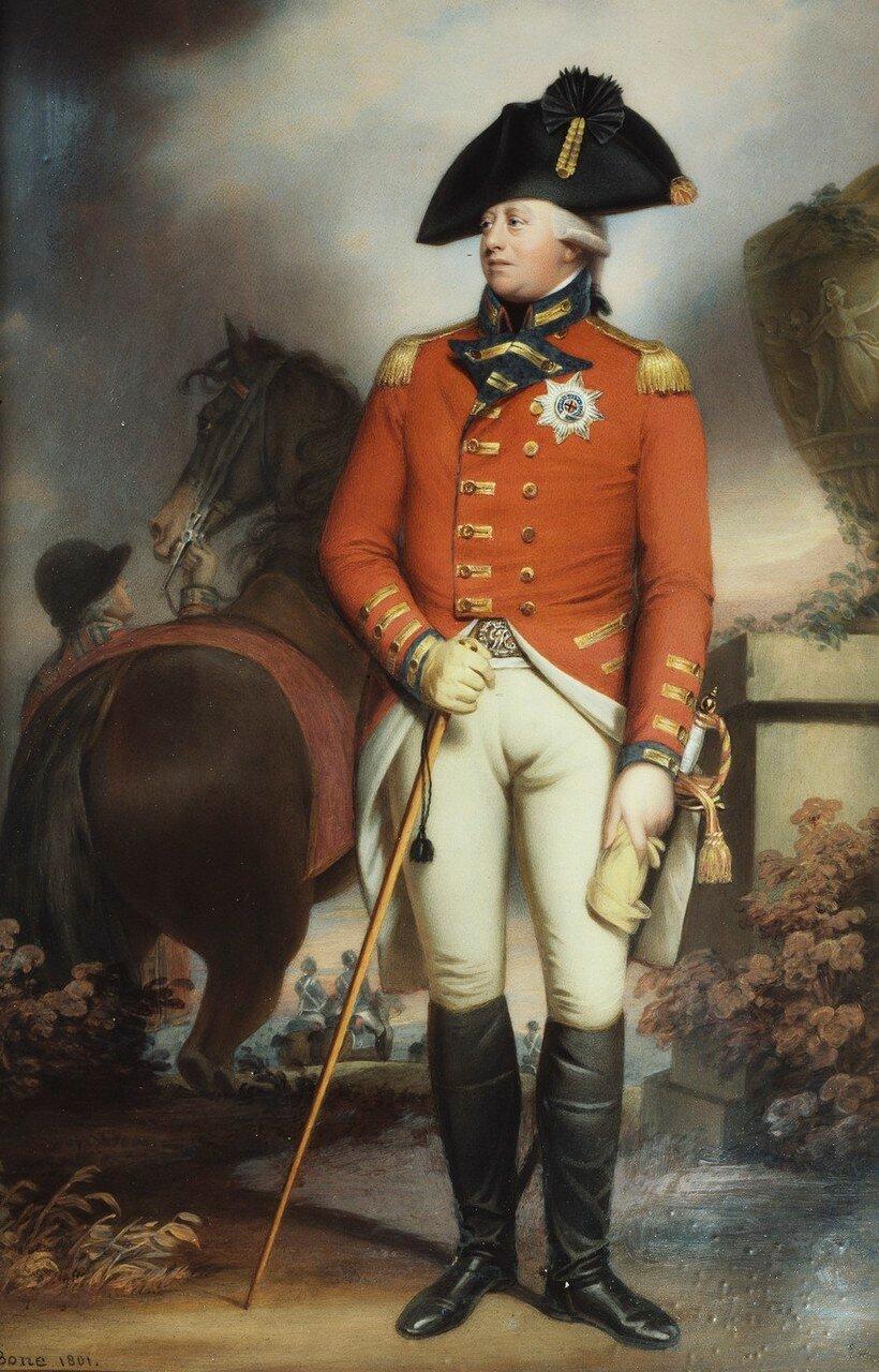 Георг III (1738-1820)  Подпись и дата 1801 Эмаль на меди