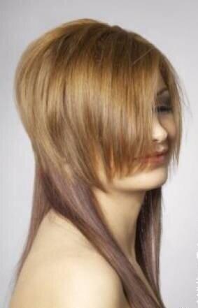 а сверху короткие. и если смотреть сзади на стрижку то при убранных вперед волосах(которые длинные)...