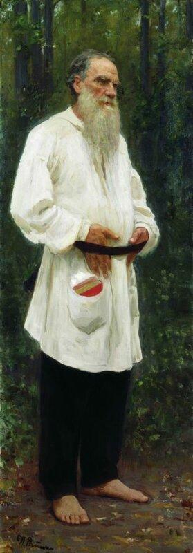 Лев Николаевич Толстой босой. 1901 г.