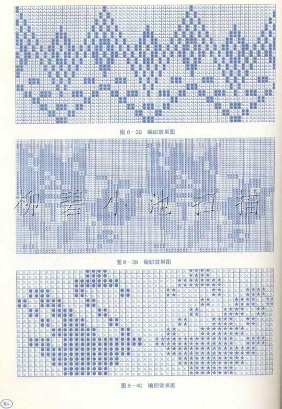 Многоцветные узоры спицами со схемами фото 173
