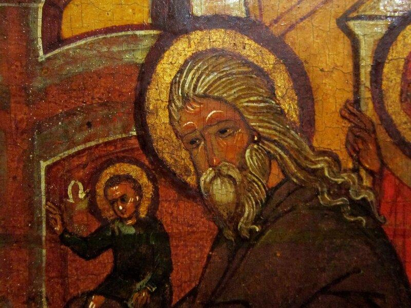 Сретение Господне. Фрагмент. Святой Симеон Богоприимец. Конец XVI века. Русский Север.