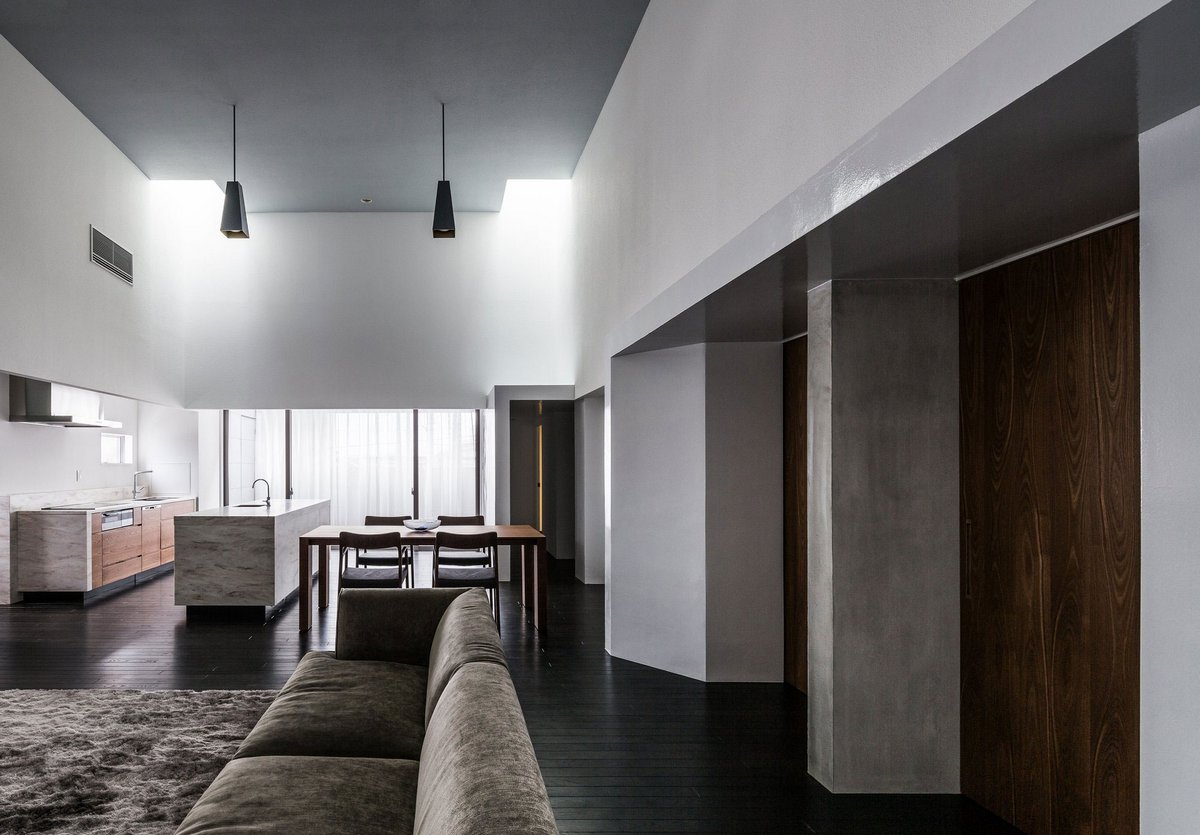 план частного дома, схема интерьера, планировка дома, Kouichi Kimura Architects, минимализм интерьер, светлый интерьер фото, педантичный интерьер