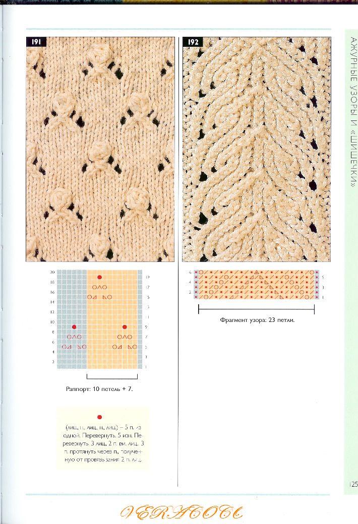 Вязание на спицах узоры схемы из листьев