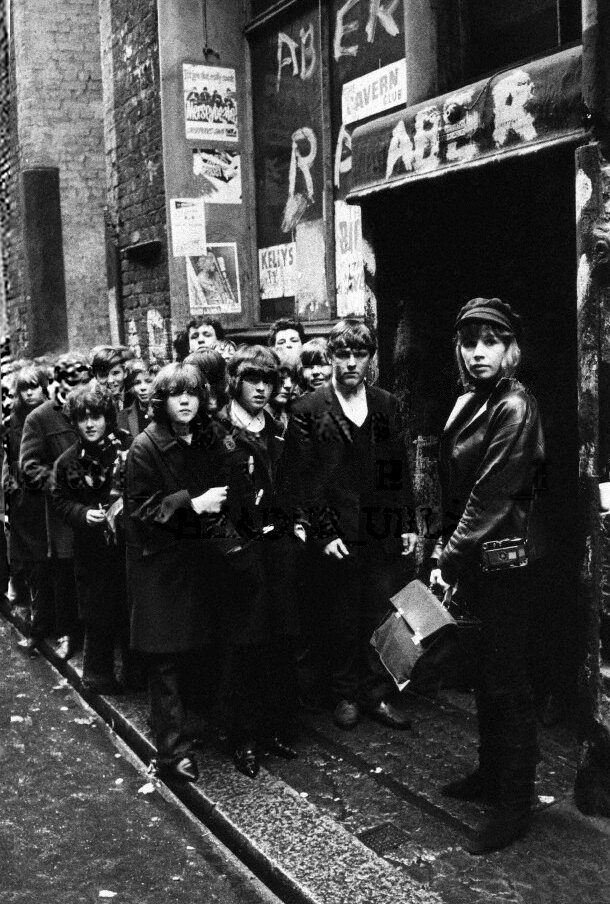 Astrid leads the queue outside The Cavern.Photographer: Max SchelerMax Scheler