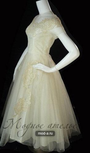 Короткое свадебное платье Присциллы Бостона 1950 года