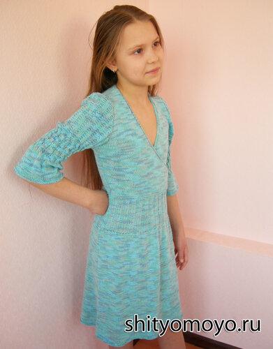 Детское платье, связанное спицами. Авторская работа. Описание бесплатно