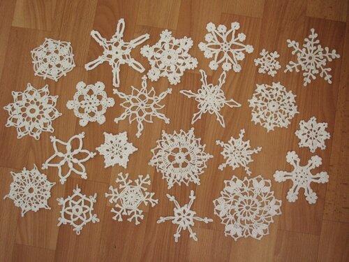 вязание крючком, Новогодние идеи, снежинки, мотивы