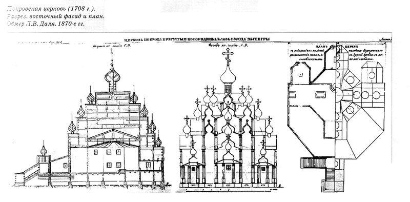 Покровская церковь города Вытегры, чертежи