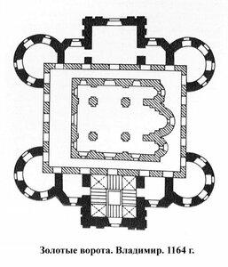 Золотые ворота во Владимире, 1164 г., план