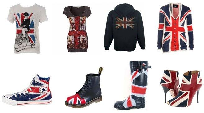 ...символикой британского флага - серьги, броши, значки, подвески, ремни.