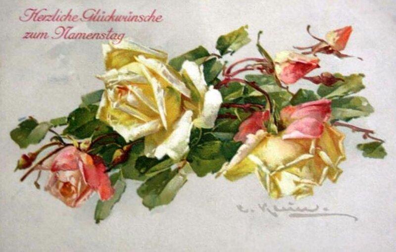 К. Кляйн. Розы. Наилучшие пожелания счастья  в день именин.